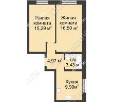 2 комнатная квартира 50,09 м² в ЖК Солнечный, дом д. 161 А/1 - планировка