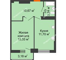 1 комнатная квартира 42,5 м², ЖК Орбита - планировка