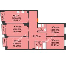 4 комнатная квартира 105,52 м², Клубный дом на Ярославской - планировка