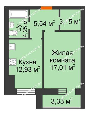 1 комнатная квартира 44,54 м² в ЖК Парк Горького, дом 62/18, № 6