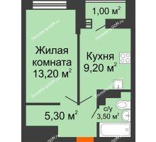 1 комнатная квартира 32,2 м² в ЖК SkyPark (Скайпарк), дом Литер 1, корпус 1, блок-секция 1 - планировка