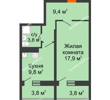 1 комнатная квартира 45,3 м² в ЖК Звезда Столицы, дом Литер 9 - планировка