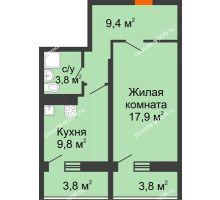 1 комнатная квартира 45 м² в ЖК Звезда Столицы, дом Литер 9 - планировка
