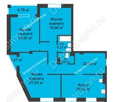 3 комнатная квартира 116,35 м² в ЖК Воскресенская слобода, дом №1 - планировка