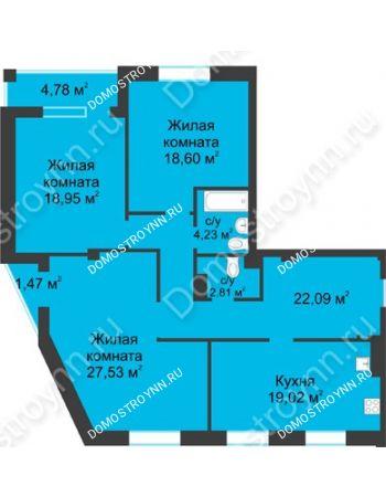 3 комнатная квартира 116,35 м² в ЖК Воскресенская слобода, дом №1