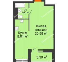 Студия 34,62 м², ЖК Марксистский - планировка