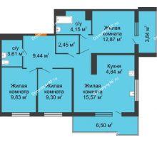 3 комнатная квартира 75,93 м² в ЖК Все свои, дом Литер 5 - планировка