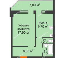 1 комнатная квартира 43,33 м², ЖК Сэлфорт - планировка