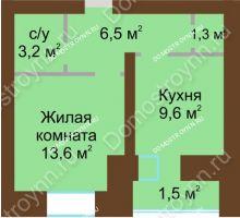 1 комнатная квартира 37,2 м² в ЖК Рубин, дом № 67