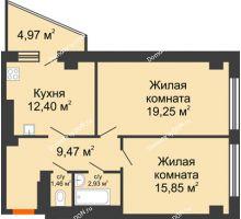 2 комнатная квартира 66,33 м², ЖК Площадь Ленина - планировка