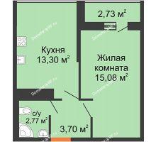 1 комнатная квартира 34,8 м² в ЖК Рекорд, дом 2 этап - планировка