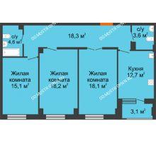 3 комнатная квартира 92,15 м² в ЖК Квартет, дом № 3 - планировка