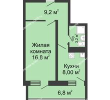 1 комнатная квартира 41,2 м² в ЖК Звезда Столицы, дом Литер 3 - планировка
