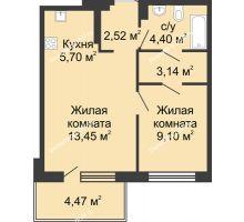 2 комнатная квартира 42,81 м² в ЖК Времена Года, дом № 1