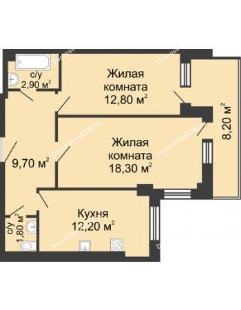2 комнатная квартира 61 м² - ЖК Дом на Береговой