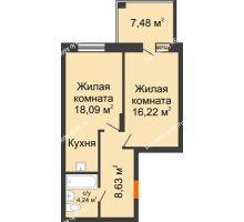 2 комнатная квартира 50,48 м², ЖК Abrikos (Абрикос) - планировка