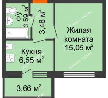 1 комнатная квартира 30,5 м² в ЖК АВИА, дом № 2 - планировка