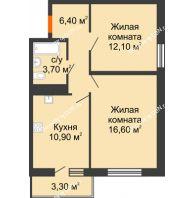 2 комнатная квартира 50,7 м² в ЖК SkyPark (Скайпарк), дом Литер 2 - планировка