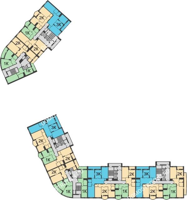 Планировка 19 этажа в доме № 89, корп. 3 в ЖК Монолит