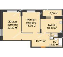 2 комнатная квартира 73,6 м² в ЖК Адмирал, дом 3 Очередь - планировка