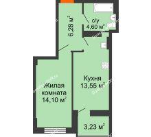 1 комнатная квартира 40,15 м² в ЖК Аврора, дом № 2 - планировка