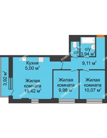 3 комнатная квартира 59,48 м² - ЖК Каскад на Путейской