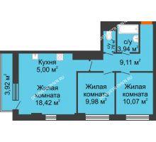 3 комнатная квартира 59,48 м², ЖК Каскад на Путейской - планировка