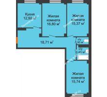 3 комнатная квартира 85,15 м² в ЖК Ясный, дом № 10 - планировка